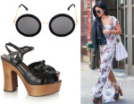 Vanessa Hudgens' Saint Laurent 'Candy' Sandals, The Row 'Mod' Round Sunglasses