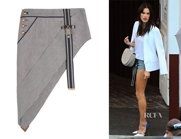 Alessandra Ambrosio's Anthony Vaccarello Asymmetric Skirt
