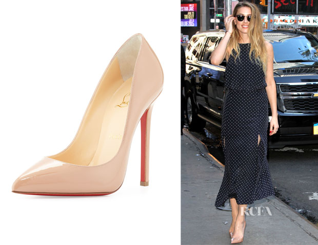 Amber Heard's Christian Louboutin So Kate Patent Leather Pumps