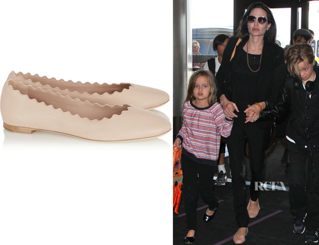 Angelina Jolie's Chloé 'Lauren' Leather Ballet Flats