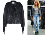 Ashley Tisdale's Maje 'Bombay' Fringed Leather Biker Jacket