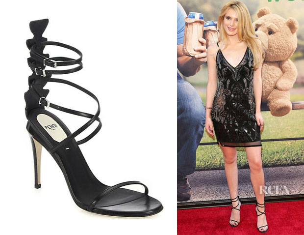 Bella Thorne's Fendi 'Ava' Leather & Crocodile Strappy Sandals