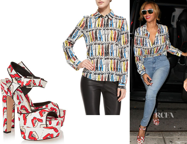 Beyonce Knowles' Alice + Olivia 'Willa' Printed Button-Down Blouse And Brian Atwood 'Karin' Lips Printed Canvas Platform Sandals
