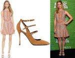 Brittany Snow's Carven Tweed Back Cutout Dress And Nicholas Kirkwood 'Hutton' Multi-Strap Pumps