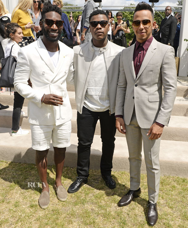 LONDON, ENGLAND - JUNE 15:  (L to R) Tinie Tempah, John Boyega and Lewis Hamilton depart the Burberry Menswear Spring/Summer 2016 show at Kensington Gardens on June 15, 2015 in London, England.   Pic Credit: Dave Benett