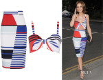 Cheryl Fernandez-Versini's Milly 'Marina' Striped Bustier Top And Milly 'Marina' striped pencil skirt