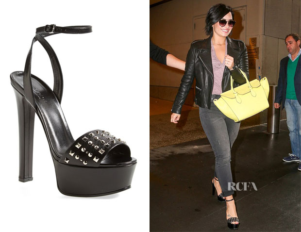 Demi Lovato's Gucci 'Leila' Stud Leather Platform Sandals