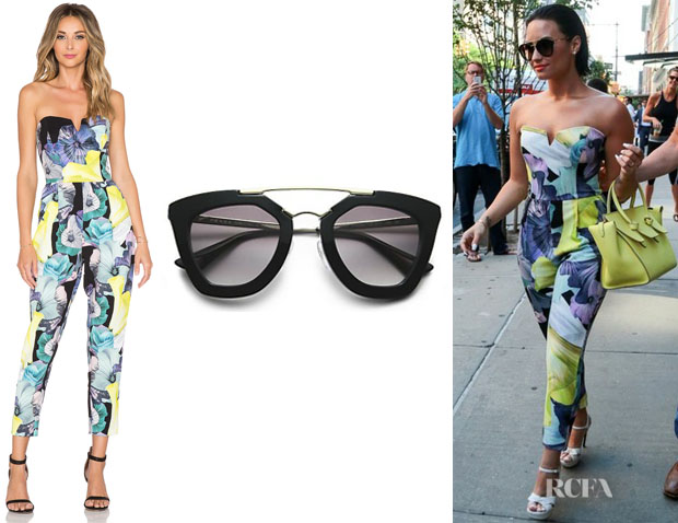 Demi Lovato's Prada Cat's-Eye Sunglasses And Bardot Floral Jumpsuit