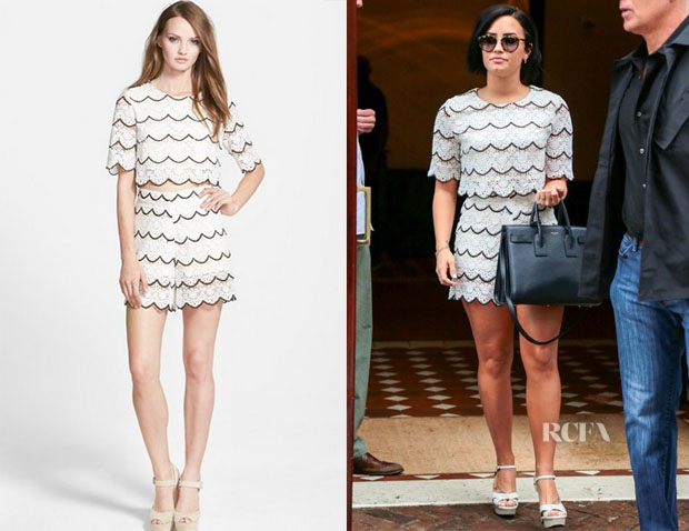 Demi Lovato's Sister Jane 'Match Set' Lace Top And Shorts