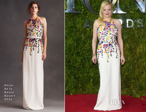 Elisabeth Moss In Oscar de la Renta - 2015 Tony Awards