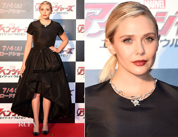 Elizabeth Olsen In Christian Dior - 'Avengers  Age of Ultron'