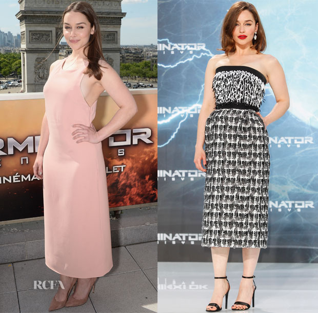 Emilia Clarke In Calvin Klein Collection & Balenciaga - 'Terminator Genisys' Paris Photocall & Berlin Premiere