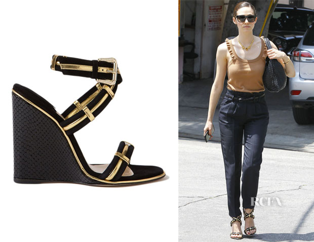 Emmy Rossum's Paul Andrew 'Nikaia' Wedged Sandals