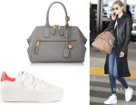 Gigi Hadid's Marc Jacobs 'Incognito' Tote And Ash 'Cult Ostrich' Sneakers
