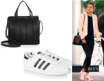Gigi Hadid's Max Mara 'Whitney' Leather Tote And Adidas Originals 'Superstar' Leather Sneakers