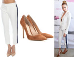 Gigi Hadid's SMYTHE Cropped Tux Stripe Boy Pants And Gianvito Rossi Suede Pumps