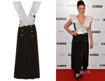 Gizzi Erskine's Alessandra Rich Belted Organza-Trimmed Silk-Cady Gown