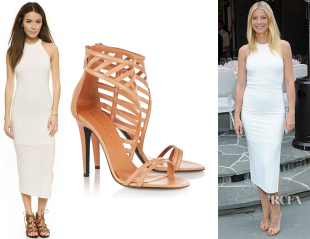 Gwyneth Paltrow's AIR by Alice + Olivia Open Back Slim Dress And Tamara Mellon 'Jealous' Leather Sandals