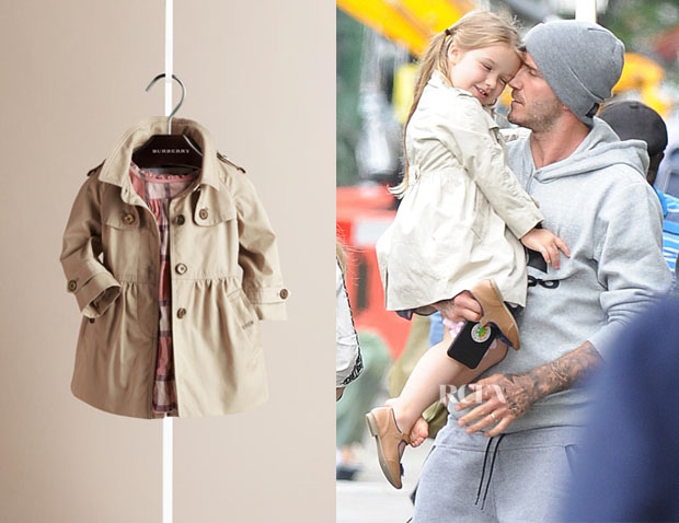 Harper Beckham's Burberry Skirted Cotton Twill Trench Coat