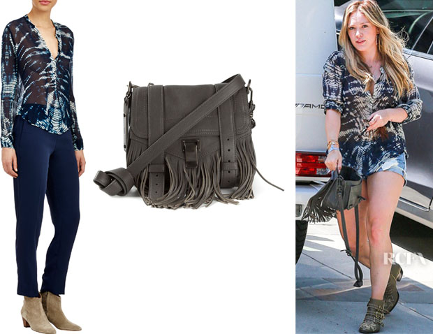 Hilary Duff's Raquel Allegra 'Chiffon' Henley Blouse And Proenza Schouler Fringed 'PS1' Satchel