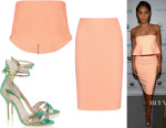 Jada Pinkett Smith's Elizabeth and James 'Addilyn' Cropped Top, Elizabeth and James 'Aisling' Pencil Skirt And J.Crew + Sophia Webster 'Nicole' Textured-Leather Sandals