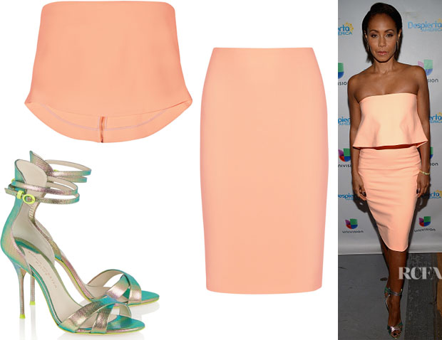 Jada Pinkett Smith's Elizabeth and James 'Addilyn' Cropped Top, Elizabeth and James 'Aisling' Pencil Skirt And J