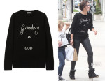 Jaimie Alexander's Bella Freud 'Ginsberg is God' Merino Wool Sweater