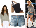 Jennifer Lawrence's Rag & Bone/JEAN Cutoff Shorts, Rag & Bone 'Dering' Tee And Gianvito Rossi Halter-Strap Sandals