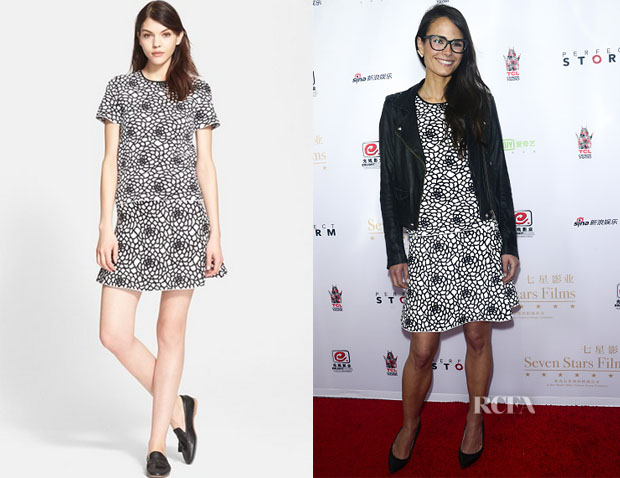 Jordana Brewster's A.L.C. 'Charles' Top And A.L.C. 'Carley' Skirt