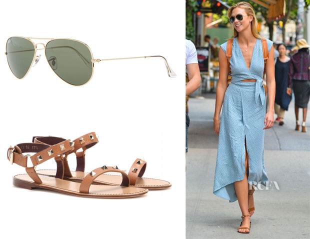 Karlie Kloss' Ray-Ban 'Aviator' Sunglasses And Valentino 'Rockstud' Sandals