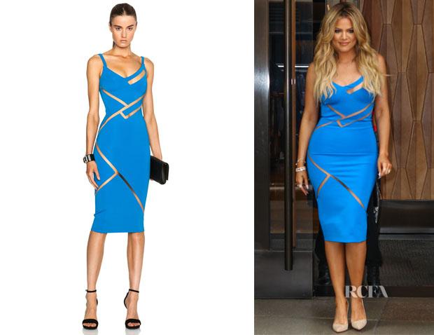 Khloe Kardashian's David Koma Net Line Insert Pencil Dress