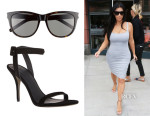 Kim Kardashian' Saint Laurent Retro Sunglasses And Alexander Wang 'Antonia' Sandals