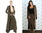 Kim Kardashian's Balmain Striped Pants And Balmain Belted Striped Cardigan