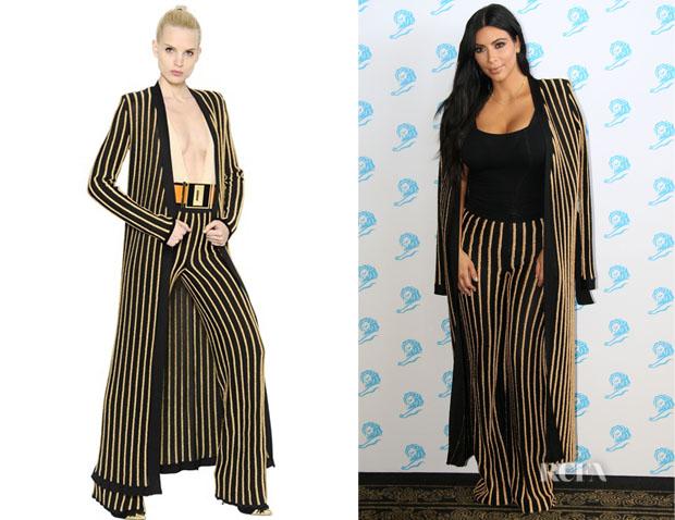 Kim Kardashian's Balmain Striped Pants And Balmain Belted Striped Cardigan