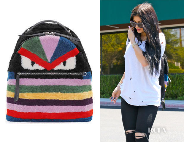 Kylie Jenner's Fendi Multicolor Shearling 'Monster' Backpack