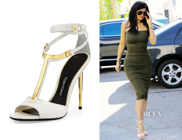 Kylie Jenner's Tom Ford Leather T-Bar Ankle-Wrap Sandals