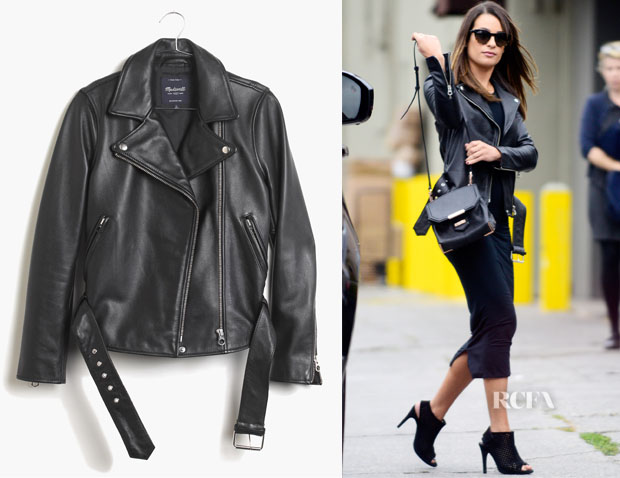 Lea Michele's Madewell Ultimate Leather Motorcycle Jacket