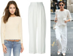 Lily Aldridge's J Brand 'Reese' Sweater And Chloé Wide Leg Trousers