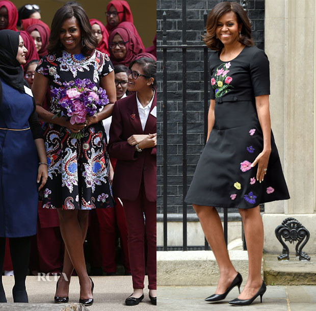 Michelle Obama In Mary Katrantzou & Christopher Kane - 'Let Girls Learn Initiative' & Downing Street Visit