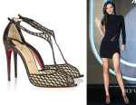 Miranda Kerr's Christian Louboutin 'Tiny' Leather And Lace Sandals