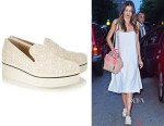 Miranda Kerr's Stella McCartney Crocheted Floral-Lace And Canvas Slip-On Sneakers
