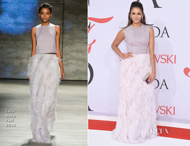 Nina Dobrev In Lela Rose - 2015 CFDA Fashion Awards