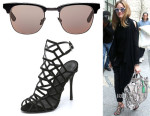 Olivia Palermo's Westward Leaning 'Vanguard 8' Sunglasses And Schutz 'Juliana' Caged Sandals