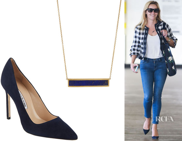 Reese Witherspoon's Jennifer Meyer Bar Pendant Necklace And Manolo Blahnik 'BB' Pumps