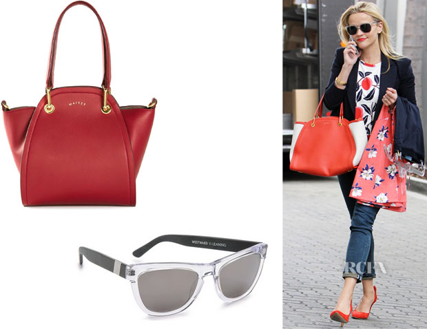 Reese Witherspoon's Westward Leaning 'Heritage 7' Sunglasses And Maiyet 'Peyton' Tote
