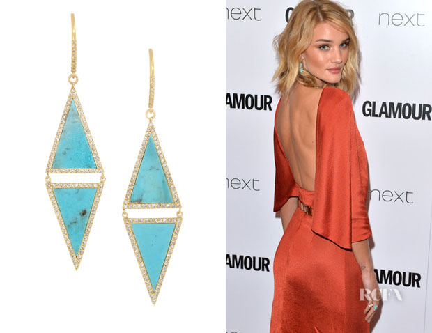 Rosie Huntington-Whiteley's Jennifer Meyer Turquoise And Diamond Earrings