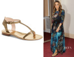 Sarah Jessica Parker's SJP by Sarah Jessica Parker 'Veronika' Metallic Leather Sandals