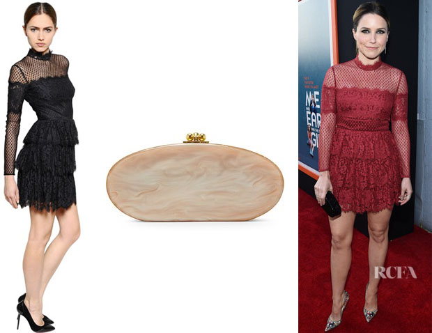 Sophia Bush's Temperley London Ruffled French Lace Dress And Edie Parker 'Oval Edie' Clutch