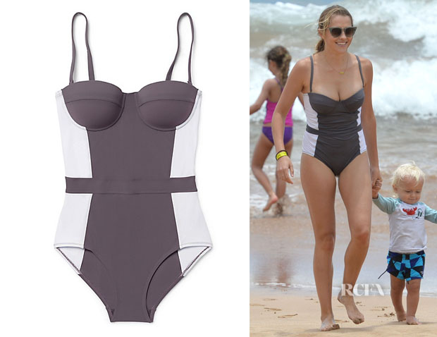 Teresa Palmer's Tory Burch 'Lipsi' Color-Block One-Piece