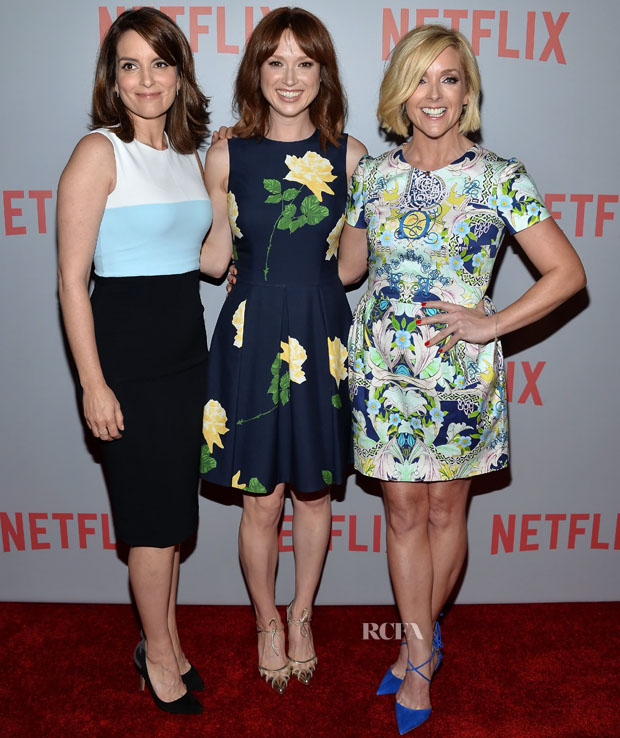 "WEST HOLLYWOOD, CA - JUNE 07:  (L-R) Actresses Tina Fey, Ellie Kemper and Jane Krakowski arrive at Netflix's ""Unbreakable Kimmy Schmidt"" For Your Consideration Q&A screening event at Pacific Design Center on June 7, 2015 in West Hollywood, California.  (Photo by Amanda Edwards/WireImage)"